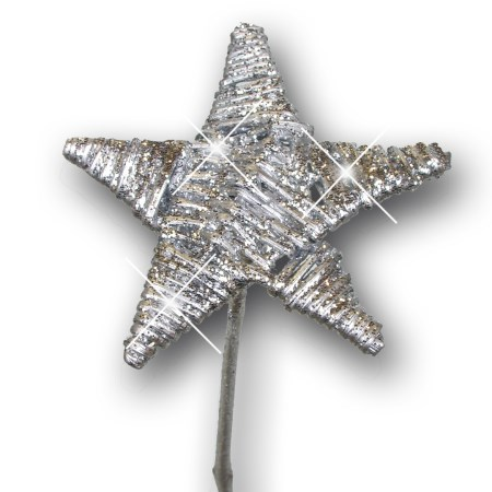 Lata star on stem flat 'silver silver glitter'