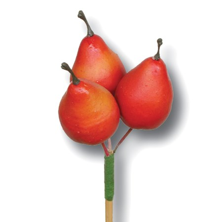 Pear 3 pc on stem 'red'