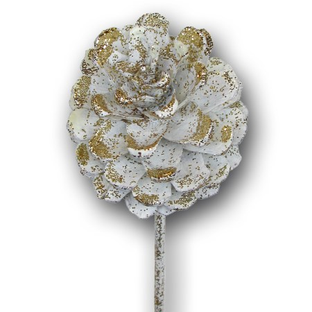 Pine cone on stem 'ivory gold glitter'