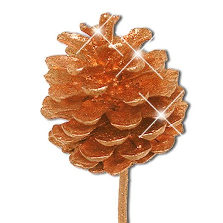 Pine cone on stem 'orange gold glitter'