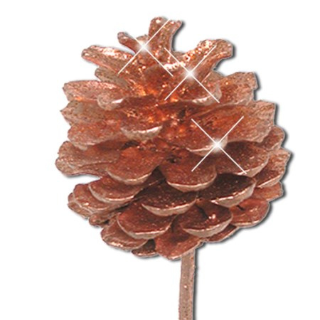 Pine cone on stem 'copper copper glitter'