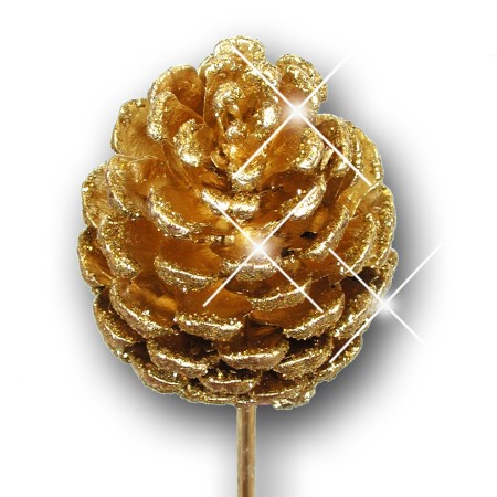 Pine cone on stem 'gold gold glitter'