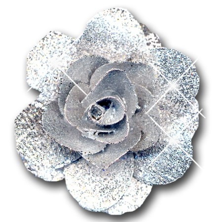 Woodrose 5 cm on stem 'silver silver glitter'