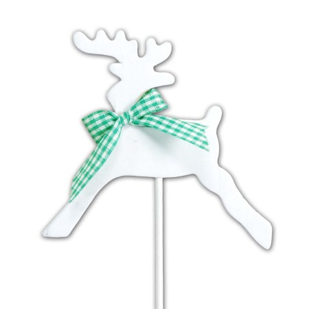 Wooden Reindeer on Stem White with Green Bow