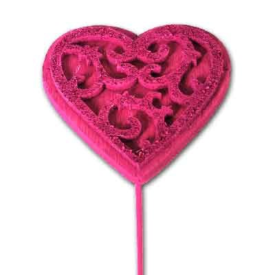 Wood & Felt Heart on stem 'Pastel Pink'