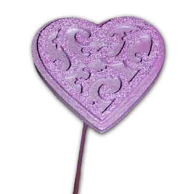 Wood & Felt Heart on stem 'Pastel Lilac'