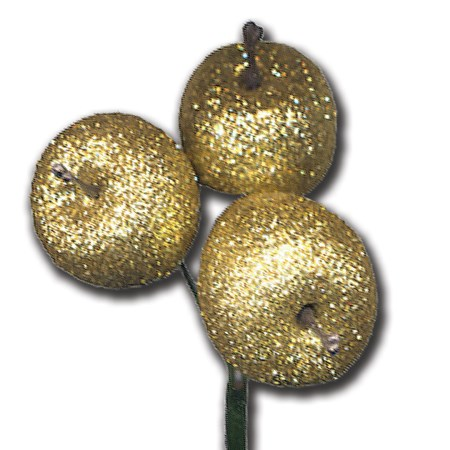 Apple glitter 3 pc on stem 'gold gold glitter'