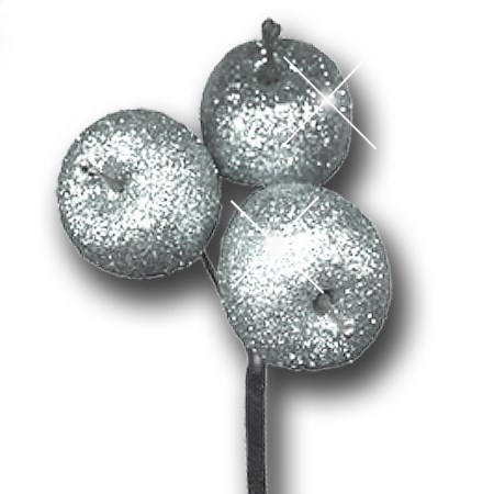 Apple glitter 3 pc on stem 'silver silver glitter'
