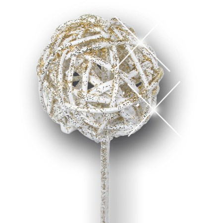Brunchball 5 cm on stem 'ivory gold glitter'