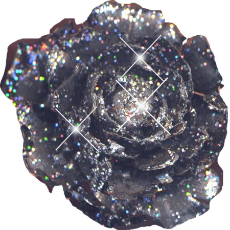 Cedar rose on stem 'black multi glitter'
