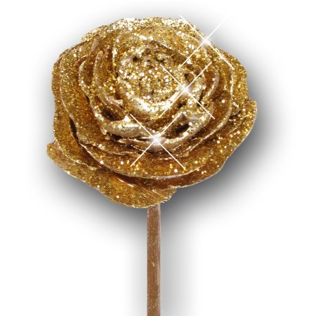 Cedar rose on stem 'gold gold glitter'