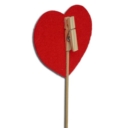 Clothespeg with heart on stem 'red'