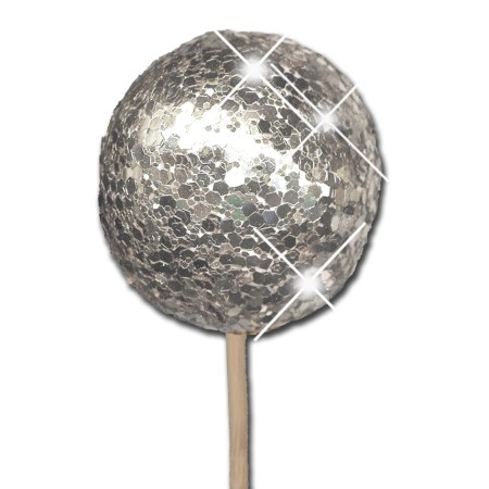 Glitter ball 5 cm on stem 'silver glitter'
