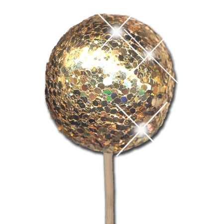Glitter ball 5 cm on stem 'gold glitter'